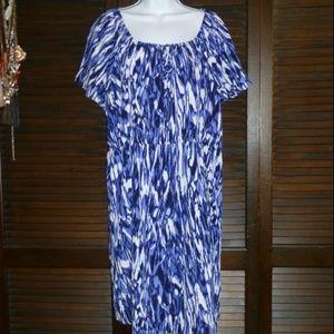 DANA BUCHMAN Blue & White Shift Dress, XL, NWOT